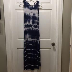 Blue and white tie-dye maxi dress, size medium